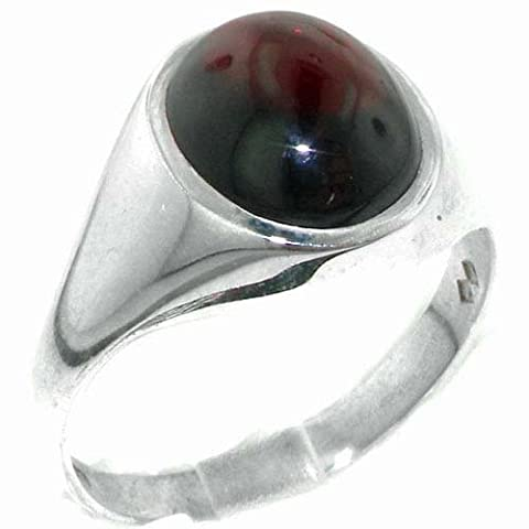 Luxury Solid Sterling Silver Natural Cabochon Garnet Mens Signet Ring - Size P 1/2 - Finger Sizes N to Z+3