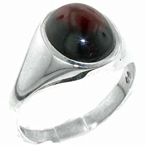 Luxury Solid Sterling Silver Natural Cabochon Garnet Mens Signet Ring - Size N - Finger Sizes N to Z+3 Available - Ideal gift for fathers day, valentines, wedding, birthday, christmas, thanksgiving, grandfathers day, uncle, dad, son, nephew