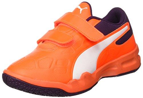 Puma Unisex-Kinder TENAZ V JR Multisport Indoor Schuhe, (Shocking Orange White-Shadow Purple 03), 38.5 EU