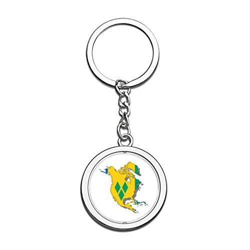 Schlüsselbund St. Vincent und die Grenadinen Karte Nationalflagge 3D Kristall Kreative Spinning Runde Edelstahl Schlüsselbund Reise Souvenir Schlüsselanhänger