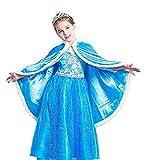 meibida Kinder Halloween Kostüm Sophia ELSA Anna Belle Kapuzenumhang Umhang Prinzessin verkleiden Sich Schneekönigin Party Cosplay Kostüm Winter Robe Jacke 4-9 Jahre alt (Blau, 6-7 Jahre alt)
