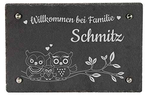 LAUBLUST Schiefer Türschild personalisiert mit Eulen Gravur - 30x20cm, Anthrazit - Schiefertafel inkl. 4 Wandabstandshalter aus Edelstahl als Namensschild | Haustür-Schild | Geschenkidee zum Einzug