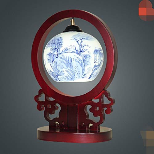 Tischleuchte Schreibtischlampe Leselampe Klassische Massivholz Lampe Chinesische Hand Bemalt Keramik - Lampe Alten Zimmer Mit Lampe Blau - Weißen Porzellan - Lampe