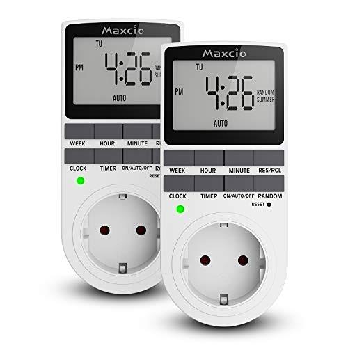 Digitale Zeitschaltuhr Steckdose, Maxcio Programmierbare Timer Steckdose mit 10 konfigurierbaren wöchentlichen Schaltprogramme und Anti-Theft-Modus, 12/24h-Modus, 16A / 3680W - 2 Packs