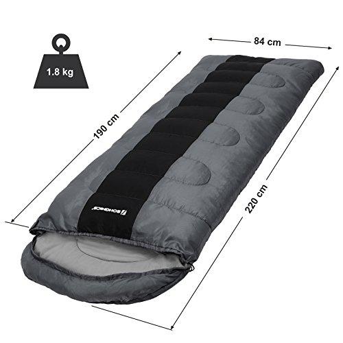 SONGMICS Sac de Couchage Garnissage de Fibres artificielles 220 cm x 84 cm pour Camping, Randonnée, Excursion avec Sac de Compression pour Adulte avec Sac de Compression