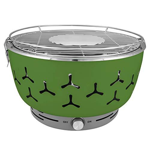 WOLTU® Holzkohlegrill BBQ-Grill mit elektronischen Belüftung rauchfrei Stahl Edelstahl 35 x 35 x 24cm CPZ8117gn Grün
