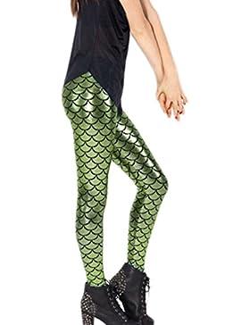 La Mujer Casual De Escamas De Pescado Slim Skinny Pantalones Legging Pantalon Largo Bodycon