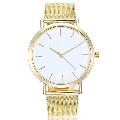 PLOT Damen Quarzuhr Ziffern | Stahlband Uhren | Armbanduhren Für Frauen | Geschenke Für Frauen | Einstellbar Uhrenband | Quarzwerk | 20mm Bandbreite | 40mm Gehäusedurchmesser (Gold)