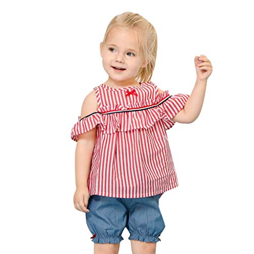 Gestickte Striped-shorts (MRENVWS Toddler Baby Girl Kid Striped Off Shoulder Tops + Bow Shorts Outfits Set Clothes)