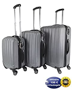 3er Set Reisekoffer Hartschale 4 Rollen, TSA, Grau, inkl. 100 Euro Urlaubsgeld