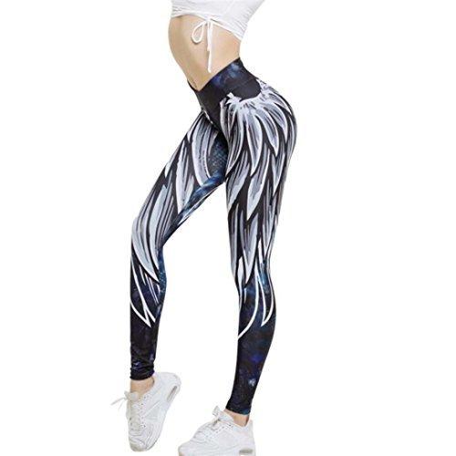 Leggings Damen, Damen Leggings Laufhose Gym Yoga Hosen Fitness Elastische Leggings Sporthosen (L, Feder Blau)