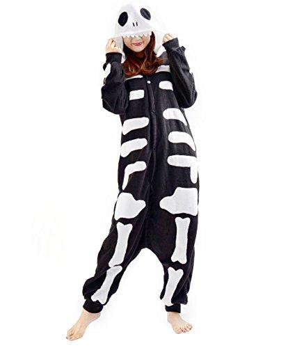 SAMGU Schädel Unisex Adult Tier Onesie Pyjama Kostüm Kigurumi Schlafanzug Erwachsene Tieroutfit Jumpsuit Farbe Schwarz Größe M