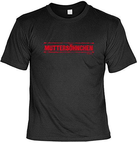 Lustiges Sprüche T-Shirt Weihnachtsgeschenk Muttersöhnchen lustig bedrucktes Funshirt witziges Funshirt Geschenk T-Shirt Schwarz