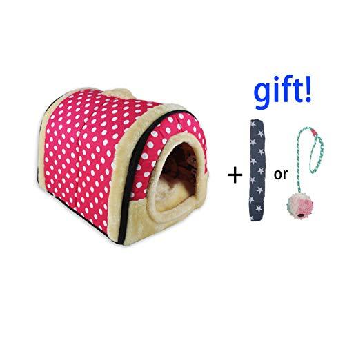2 In 1 Haustier Haus und Sofa, Maschinenwaschbar Anti-Rutsch Faltbare Weich Warm Hund Katze Hündchen Kaninchen Haustier Nest Höhle Bett Haus mit Abnehmbarem Matratze, 3 Größen