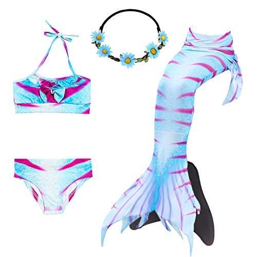 COZY HUT 2019 Mädchen Meerjungfrau Tails Bikini Badeanzug setzt 5 Stücke Bademode mit Flosse für Schwimmen Cosplay Partei,3-12 Jahre alt -