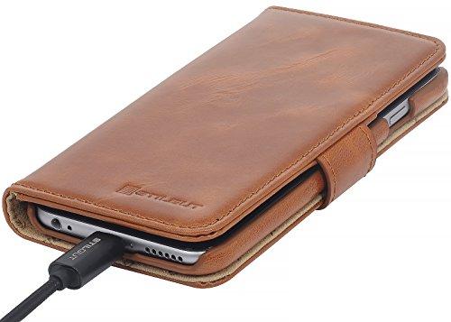 """StilGut Talis, Wallet-Case Schutz-Hülle für iPhone 6s (4.7"""") mit Kreditkarten-Fächern aus echtem Leder. Seitlich aufklappbares Flip Case in Handarbeit gefertigt für das Original Apple iPhone 6s (4.7"""") Cognac"""