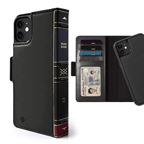 Twelve South BookBook - Custodia a portafoglio 3 in 1 in pelle con supporto per display e guscio magnetico rimovibile, colore: Nero