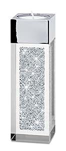 Modernes Teelicht Pylon klein mit SWAROVSKI ELEMENTS Kristallen – die besondere Tisch-Dekoration, kleines Weihnachtsgeschenk