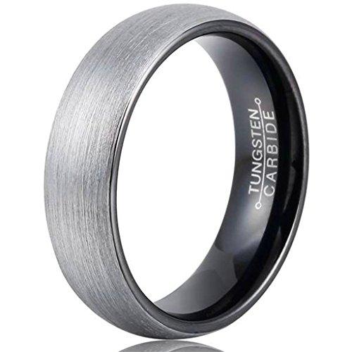AMDXD Herren Ring Wolfram Stahl (mit Gratis Gravur) Runde 6MM Silber Schwarz Ehering 54 (17.2) (Herren Silber-wolfram-ringe)