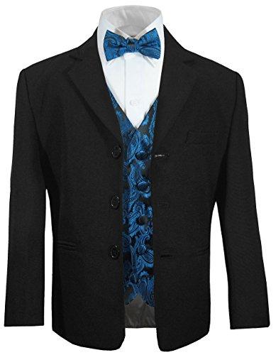 Festlicher Kinder Anzug (tailliert) schwarz + schwarz Petrol Paisley Weste mit Fliege 14