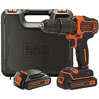 Black+Decker BDCHD18KB-QW - Taladro percutor, 18 W, 18 V, cargador 400mA, 2 baterías y maletín