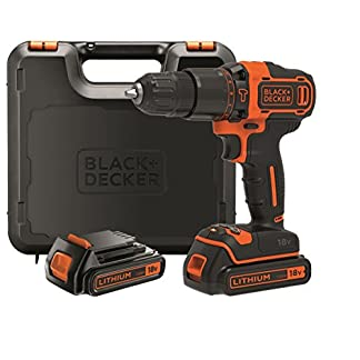 BLACK+DECKER BDCHD18KB-QW – Taladro percutor 18V, 40 Nm, con 2 baterías litio 18V (1.5Ah) y maletín