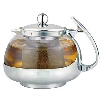 Uniware Stainless Steel Glass Teapot w/ Strainer 700ml NEW