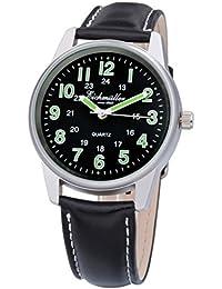 Eich Müller | Hombre Reloj de pulsera acero inoxidable reloj con banda de piel 41mm de diámetro cuarzo reloj analógico con indicadores luminiscentes 30695