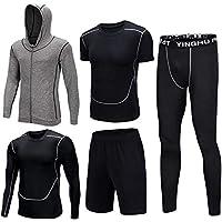 Shengwan Herren 5 Pcs Sportbekleidung Schnell Trocken Trainingsanzüge, Sportjacke mit Kapuze+Elastische Kompressionsshirt+Sporthose Leggings+Trainingsshorts