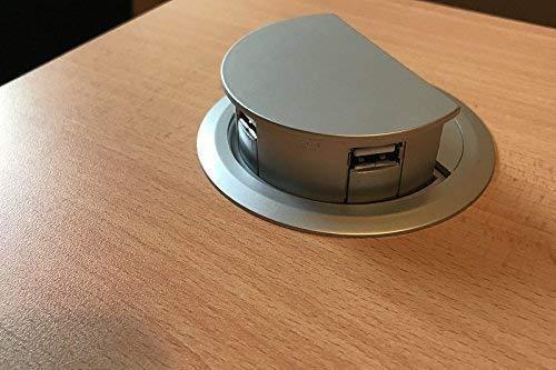 Hub USB de 3 Puertos motorizado Auto Rise en Escritorio, Color Plateado