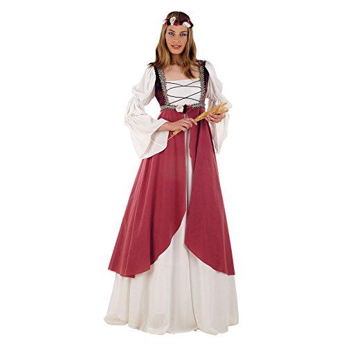 (Elbenwald Mittelalter Kostüm, Burg Kleid, Hofdame, Gewand, Damenkostüm inkl. Stirnband - XL)