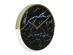 Idea Regalo - Karlsson Delight Orologio da Parete di Marmo, Pietra, Oro/Nero, black, tondo