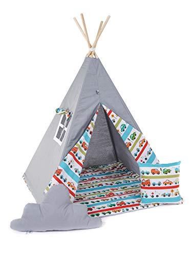 Golden Kids Kinder Spielzelt Teepee Tipi Set für Kinder drinnen draußen Spielzeug Zelt Indianer Indianertipi Tipi mit & ohne Zubehör (mit Zubehör (klein), Auto)