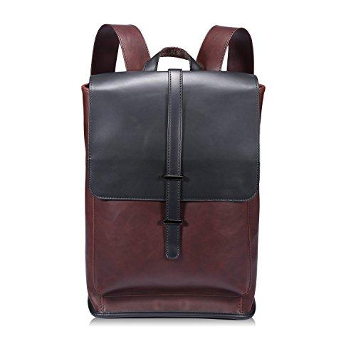 Vintage PU Leder Rucksack Damen Elegant Daypack College Backpack Schule Taschen für Männer und Frauen - Braun2 (Flip Leder Rucksack)