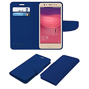 ACM Leather Flip Wallet Case for Coolpad Note 6 Mobile Cover Blue