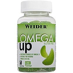 Weider Omega Up 50 gummies. Sabor lima. Combinación de ácidos grasos omega 3-6-9. Producto 100% veganos y sin gluten.