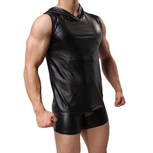 Herren Weste Leder Taste Bar Weste Sleeveless Tank Top Casual Gym Muskel Outfits Weste (L, Schwarz:Hoodies) (Taste Tank)