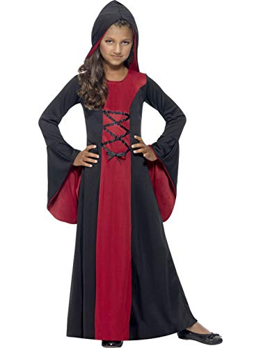 Halloweenia - Mädchen Kinder Kostüm Lady Vamp Vampirin Dracula im Mittelalter Stil mit Gewand Kleid und Kaputze, Miss Vampire, perfekt für Halloween Karneval und Fasching, 140-152, Rot