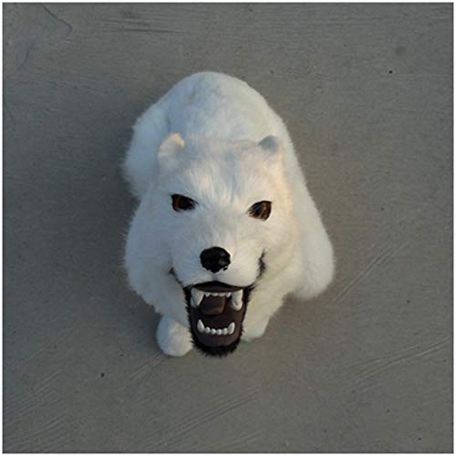 LUCKFY Realistische Wolf Modell Simulation White Wolf Roaring Modell Tier Crafts Specimen Ornaments Collectibles Home Garten Dekoration (13,78 x 7,09 x 17,72 Zoll)