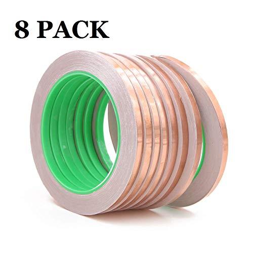 8 cintas de lámina de cobre, adhesivo conductor de doble cara para protección EMI, repelente de babosas, circuitos de papel, reparaciones eléctricas, tierra, manualidades