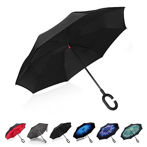 Ombrello Inverso, Ombrello Pieghevole, a Forma Di C Con Manico,Ombrello di alta qualità - 8 stecche rinforzate, funzione anti-vento con anti-UV, Inverso Doppio Strato Ombrello(nero)