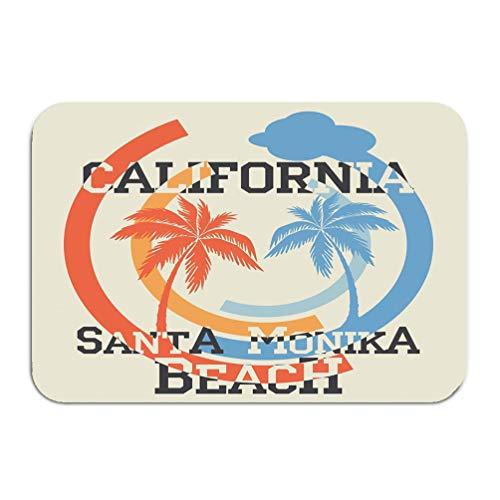 908iop 980 Carpet rug Door Mat Santa Monika California Beach Typography Sport Emblem Vintage Wear Print Design 16 * 24 inch