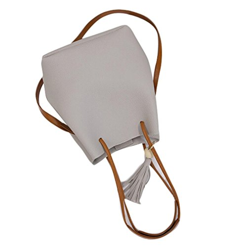 Transer Handbags & Single Shoulder Bags Ladies Artificial leather Handbag Girls Bucket Hand Bag, Borsa a spalla donna Pink 22cm(L)*26(H)*16cm(W) Grey