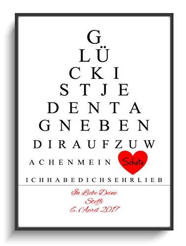 Kunstdruck Personalisiert DIN A4 Plakat Liebe Spruch 2 ohne Rahmen Design Herz Rot Geschenk-Idee Jahrestag Valentinstag Mann Frau Partner Name Datum