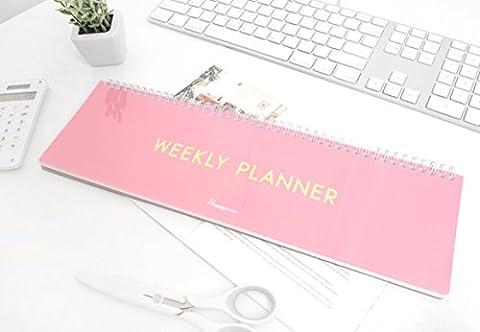 Desk Long Weekly Planner - Wirebound Weekly Schedule Planner Pad (Simple_Pink)