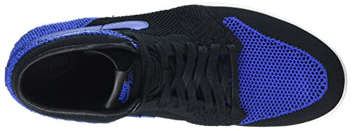 Nike Herren Air Jordan 1 Retro Hi Flyknit Basketballschuhe Schwarz (Black Game Royalwhite)