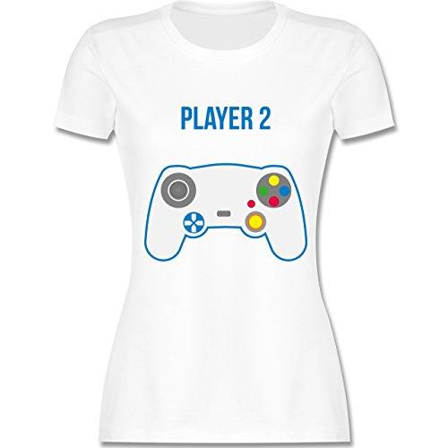 Shirtracer Partner-Look Familie Mama - Player 2 - Damen T-Shirt Rundhals Weiß