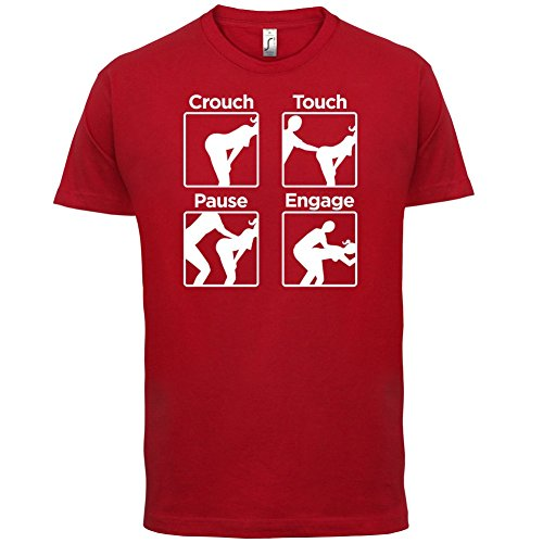 Crouch Touch Pause Engage - Herren T-Shirt - 13 Farben Rot