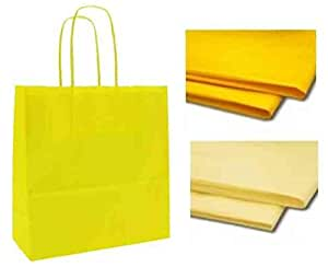 x 10 YELLOW GIFT BAGS WITH MATCHING TISSUE PAPER - CHRISTMAS / BIRTHDAY / PARTY BAG - WHOLESALE & JOBLOT