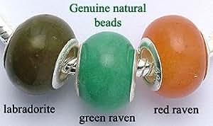 Lot de 3 perles en pierres naturelles véritables: Labradorite, green raven, red raven - s'adaptent à tous les bracelets Pandora, chamilia & troll.